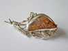 Silver brooch # 1 sample: 950, 5 g Agate
